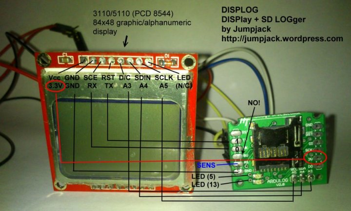 DISPLOG - DISPLAY + LOGGER on SD card