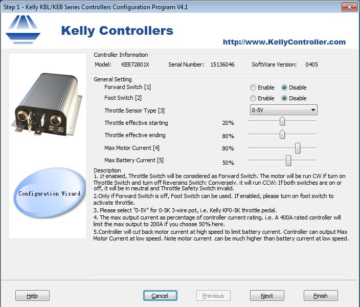 Configurazione acceleratore Ecojumbo su centralina Kelly KEB72801