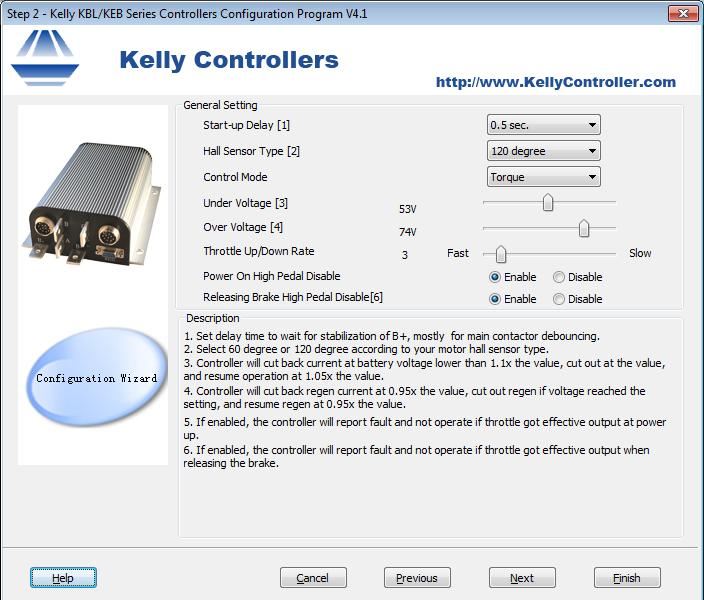 Tensione di sottosoglia per centralina Kelly KEB72801 - configurazione 2 [schermata 2]