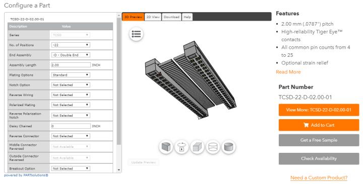 Samtec TCSD IDC 3d configurator